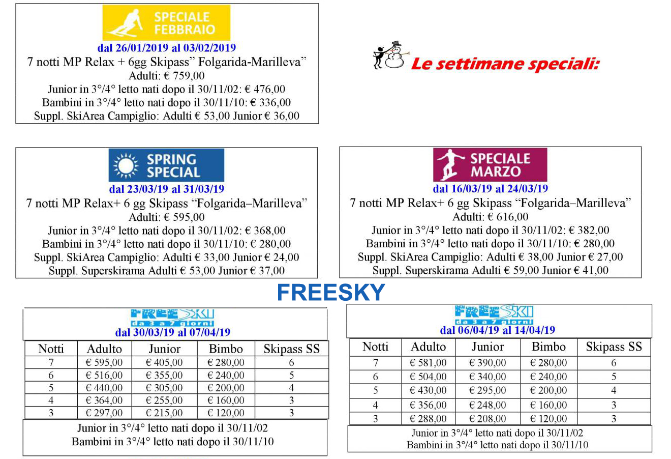 speciali settimane skypass all'hotel alpholiday