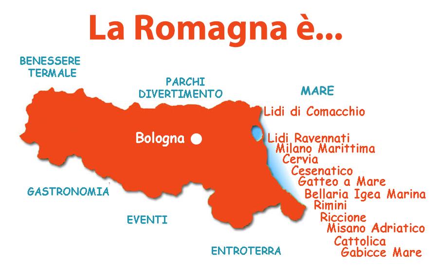 piantina delle località per famiglie con bambini della riviera romagnola